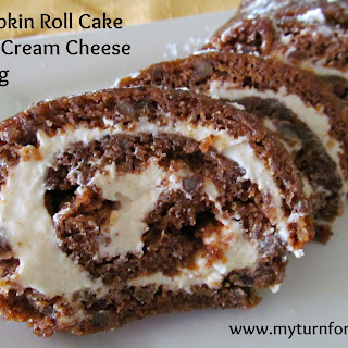 Pumpkin Roll Cake with Creme Cheese Filling