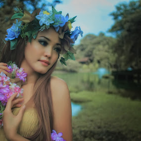 Flower Elfe by Karazy Shooke - People Portraits of Women ( model, membahana, talent, falsecolor, elf, flower )