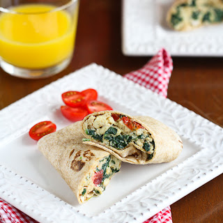 Scrambled Egg Wrap Recipe with Spinach, Tomato & Feta Cheese.