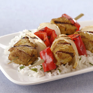 Grilled Indian Pork Kabobs with Sweet Onions and Red Bell Peppers