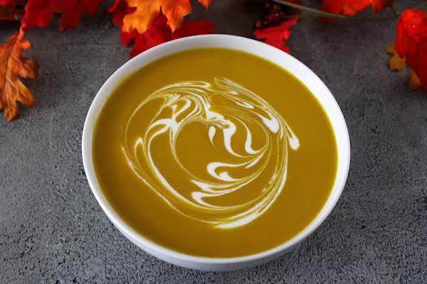 Greek Yogurt & Milk Substitute For Heavy Cream Swirled Into Soup.