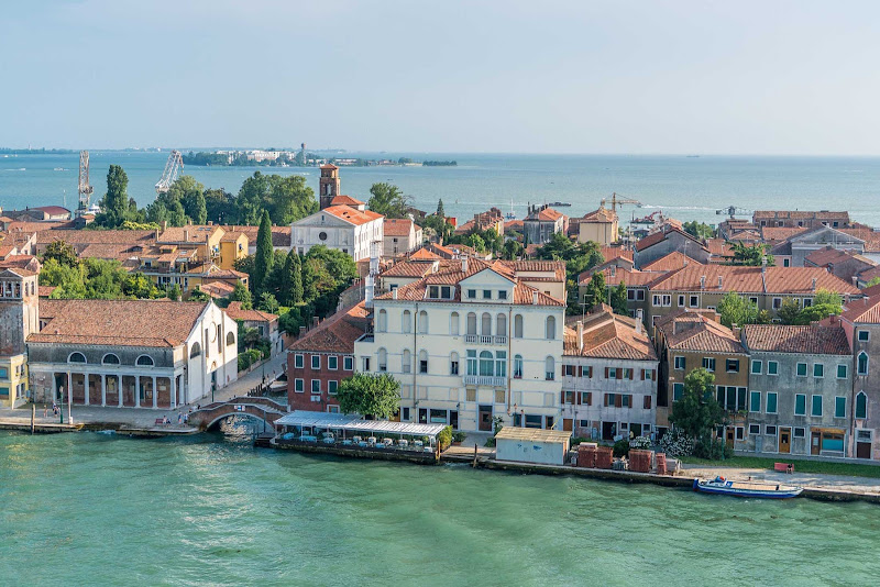 Buildings along one of the more scenic stretches of waterfront in Venice, Italy.