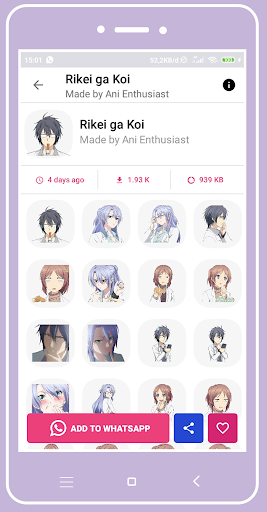 +1000 Anime Stickers For WhatsApp (WAStickerApps)  screenshots 3