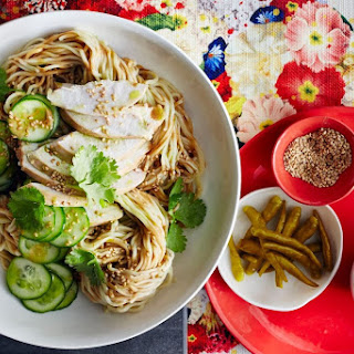 Egg noodles with Sichuan pepper chicken and cucumber.