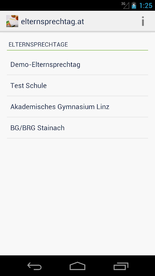 elternsprechtag.at – Screenshot