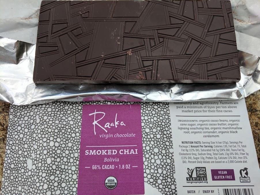 66% raaka with smoked chai bar open