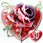 3D Ice Rose Love Theme