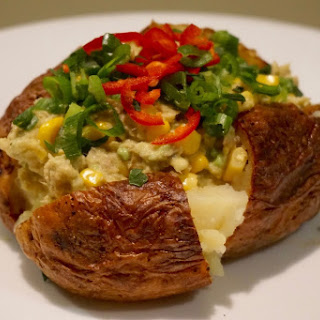 NO mayonnaise Fast/Quick oven baked Jacket potato with avocado and tuna with crisp skin recipe .