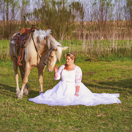 Country Bridal by Matthew Chambers - Wedding Bride ( bride, horse, country, dress, white, saddle, bridal, white dress, blonde, wedding, pasture, equine )