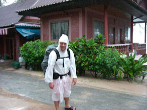 Photo: is it Casper the friendly ghost? No, it is Stijn getting in touch with his inner backpacker.