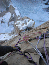 Photo: Climbing on the head wall of Cerro Torre