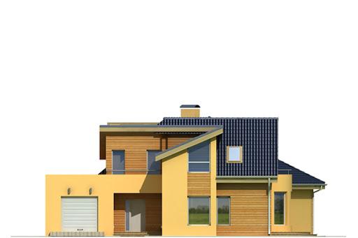 Bursztyn wersja A z pojedynczym garażem - Elewacja przednia