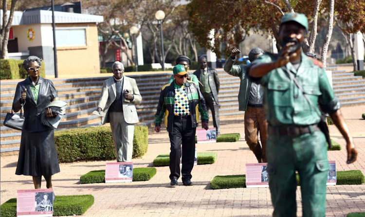 ANC President, Jacob Zuma looks at the lifesize statues on display at the ANC Policy Conference held at Nasrec. Picture: MASI LOSI