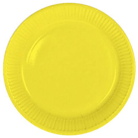 Tallrik, gul, 8st.