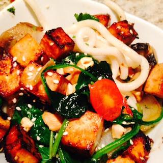 Udon Noodle Crispy Tofu Stir Fry