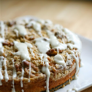 Apple Streusel Cake with Cream Cheese Glaze.