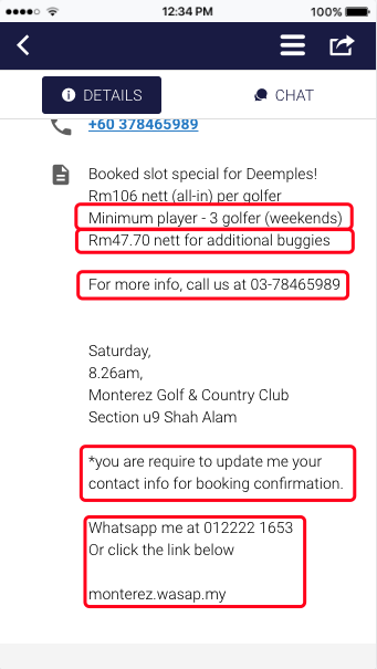 violation of Deemples Terms of use of hosting golf games