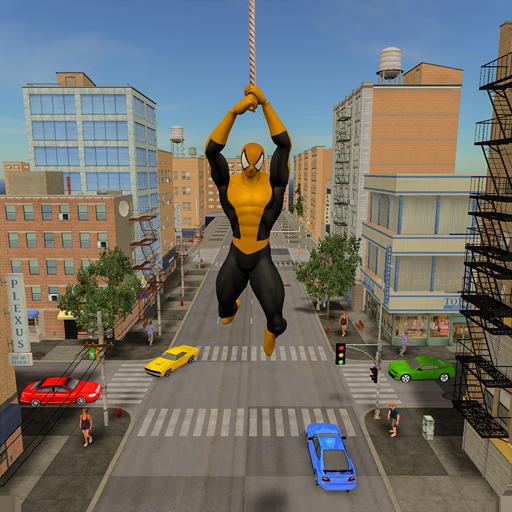 Batalha de cidade de crime de herói voador