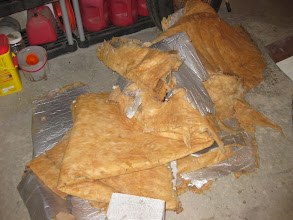 Photo: What little insulation was in the trailer, something else to stuff the garbage can with.