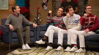The Lonely Island Wear Holiday Sweaters and White Pants