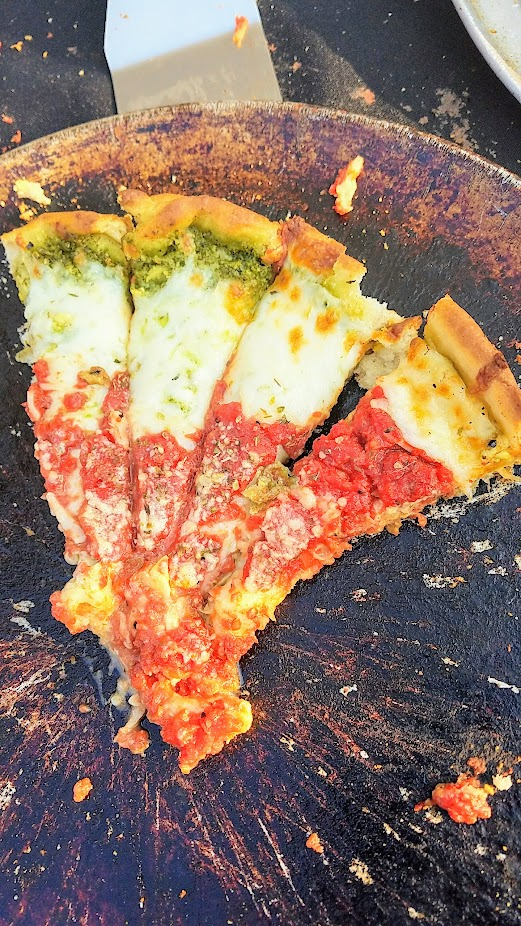 Via Chicago deep dish pizza - Veggie with artichoke and parmesan and pesto
