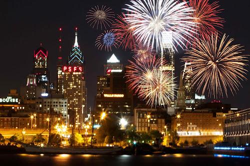 by Alice Gipson - City,  Street & Park  Skylines ( skyline, nighttime, alicegipsonphotographs, fireworks, philadelphia )