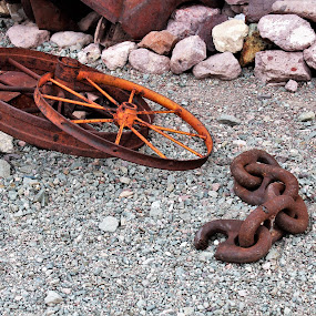 Nelson Ghost Town by Diane Garcia - Artistic Objects Industrial Objects ( wheel, chain, metal, nelson, rust,  )