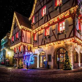 Noel à Colmar III by Pierre Husson - City,  Street & Park  Night ( night lights, christmas, city lights, france, colmar )