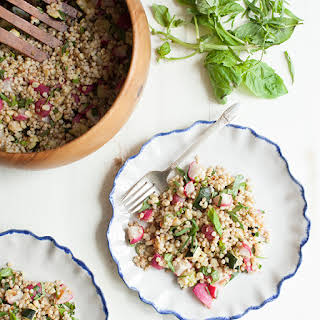 Sorghum and Roasted Summer Vegetable Salad with Tarragon and Basil (gluten free).