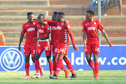 Peter Shalulile of Highlands Park celebrates goal with teammates during the Absa Premiership match between Highlands Park and Maritzburg United on the 13 April 2019 at Makhulong Stadium.