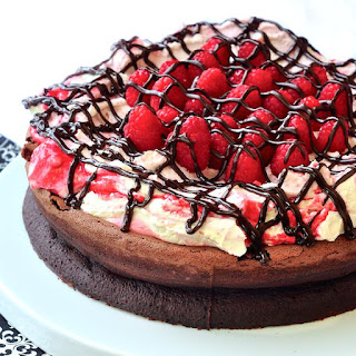 Gluten Free Chocolate Souffle Cake with Raspberry Fool.