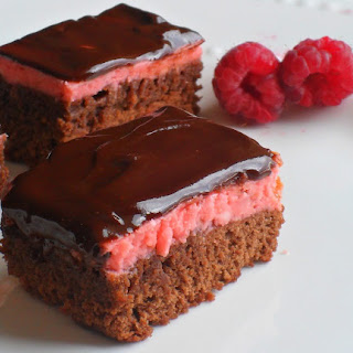 Chocolate Glazed Raspberry Cream Brownies