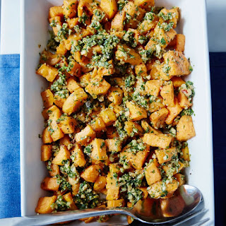 Roasted Sweet Potatoes with Hazelnut Gremolata