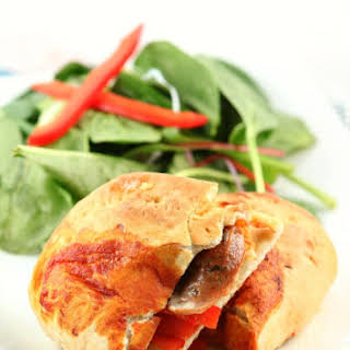 Sausage and Pepper Pizza Sandwiches.