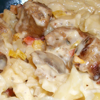 Pasta in White Sauce with Chicken Sausages