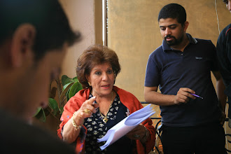 Photo: Ahmad Abdalla, in the set of Heliopolis - Cairo 2009, with Actress Aida Abdel Aziz.