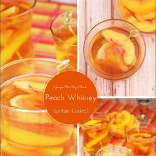 Georgia On My Mind Peach Whiskey Spritzer Cocktail.