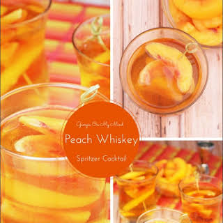 Georgia On My Mind Peach Whiskey Spritzer Cocktail.