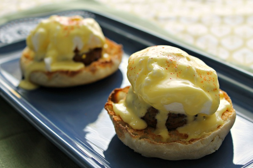 Easy Sausage Eggs Benedict recipe - perfect for Mother's Day brunch!