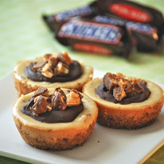 Peanut Butter Snickers Mini Cheesecakes