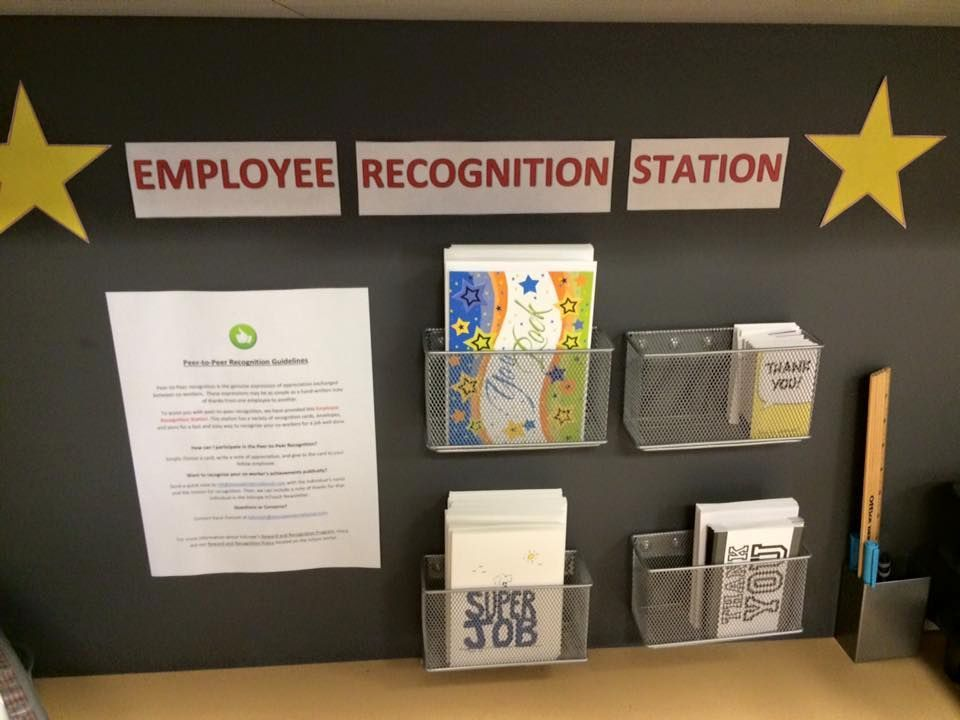 Employee recognition board in an Oakland office