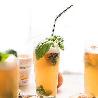 Summery Peach Basil Gin Floats Recipe