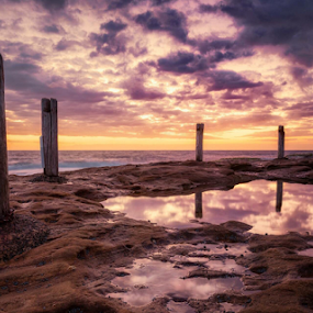 great expectations by Rebecca Ramaley - Landscapes Sunsets & Sunrises ( ivo rowe, coogee, seascape, rockpool, sydney )