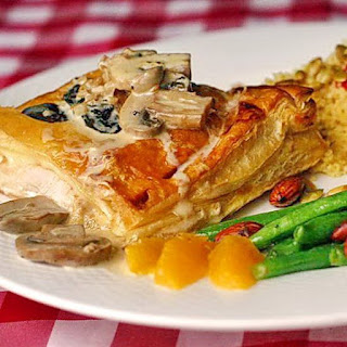 Chicken with Oregano in Puff Pastry with Creamy Mushroom Sauce.