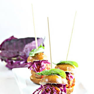Spicy Meatball Sliders with Quick Pickled Cabbage.