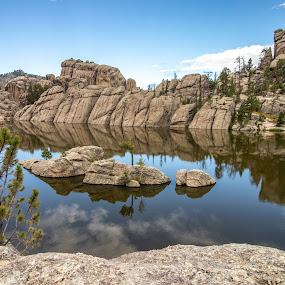 Calm Morning at Custer by Ryan Inhof - Landscapes Mountains & Hills ( mountains, reflections, south dakota, custer state park, lake )