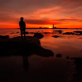 Inside looking out by Kaspars Dzenis - Landscapes Sunsets & Sunrises ( iceland, sky, red, silhuette, reykjavik, sunset, sea, ocean, landscape )