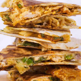 Two-Cheese Quesadillas with Chorizo and Hatch Chilies.