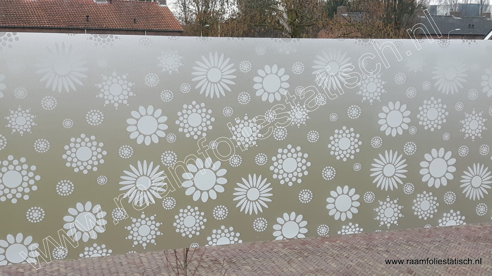 Statische raamfolie retro bloemmotief