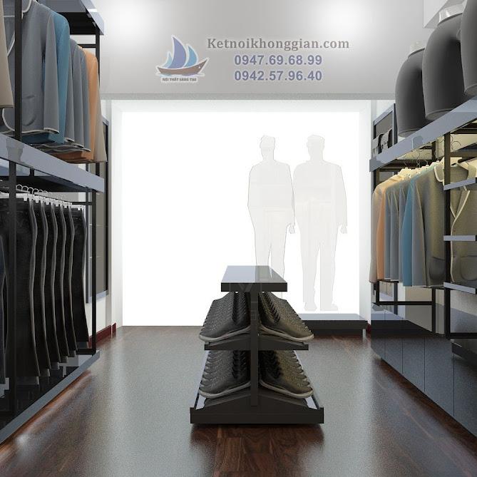 thiết kế shop thời trang công sở với kệ thấp độc đáo